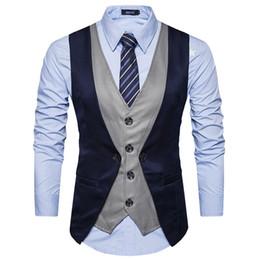 Fake Two Pieces Men Suit Vest Chaleco Hombre 2017 Brand New Uomo Gilet Gilet Homme Costume Casual Slim Fit Mens Classico Vest da