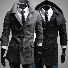 Wholesale Trench Coat Collar Up - Wholesale- New Arrival Winter Fashion Men Wool Coats Trench Coats Horn Button Men Tops Plus Size Casual Clothing Wholeslae Free Shipping