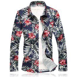 07da7dfbb0b6 Men s Print Floral Hawaiian Cardigan Shirts For Men Summer Long Sleeve  Button Down Casual Beach Shirt US Size 6XL 7XL summer beach shirts for men  for sale