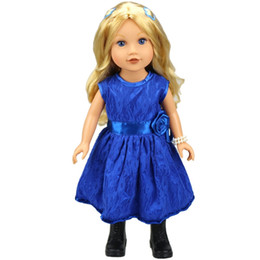 Wholesale Princess Presents - American girl doll clothes fit for 18 inches blue princess lace dress charm birthday present for children new style hot selling ( Color:Blue