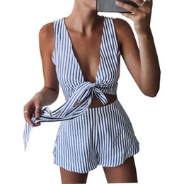 fa6906964472 jumpsuits for women 2018 new summer playsuits V-Neck Sexy Sleeveless Shorts  Stripe Sets rompers vestidos de festa OYM0360 striped short jumpsuit for  women ...
