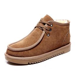 Tubo del cordón de los hombres online-Botas de nieve australianas para hombre nuevas botas de nieve con cordones de tubo bajo de invierno para hombre zapatos planos de lana de moda