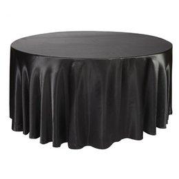 275 cm Yuvarlak Saten Masa Örtüsü Masa Örtüsü için Düğün Masa Örtüsü Restoran Ziyafet Süslemeleri nereden yuvarlak düğün masa örtüleri tedarikçiler