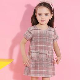Wholesale Kids Dress Designs Cotton - Girls Dress Spring Autumn 2018 Brand Clothing Girls O-neck Plaid Pocket Design for Kids 3-7 Y Clothing Cotton Long-sleeve Princess Dresses