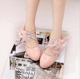 chaussures en gros de brevets pour bébés Promotion Boutique Chaussures Pour Enfants 2018 Nouveau Printemps Automne Fathion Grande Perle Fleur Fille PU Chaussures En Cuir PU Princesse Talons Hauts Chaussures De Fête