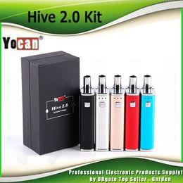 Wholesale black gold pen - Original Yocan Hive 2.0 Kits 2 in 1 Dab Vape Pen 650mAh Box Mod Thick Oil Glass Tank Atomizer Vaporizer Starter Kit 100% Authentic