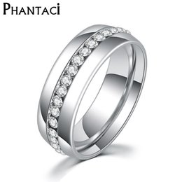 Wholesale Color Fade Ring - Not Fade Classic 6MM Stainless Steel Wedding Ring For Women Silver Color Zircon Crystal Rings Female Fashion Jewelry