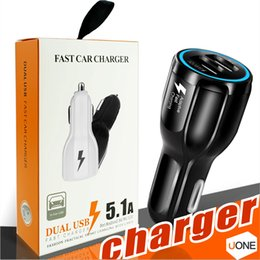 Wholesale qualcomm phones - For Samsung Galaxy S8 Iphone QC3.0 fast charge 3.1A Qualcomm Quick Charge car charger Dual USB phone charger with Retail package