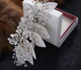 fascinadores lindos Desconto Nova Chegada Melhor Belo Cristal Pérolas Fascinators Acessórios Fontes Do Casamento Espumante Do Vintage Headpieces Handmade Acessórios De Noiva