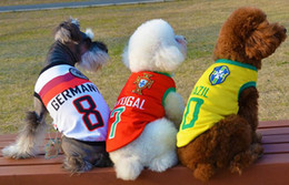 Wholesale thanksgiving jerseys - Cute Small Dog Clothes Summer Dog football Shirt Soccer World Cup jersey polyester dog clothes Soccer Vest 8 colors