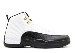 2019 material de renda branca Top de Fábrica Versão 12 Táxi preto branco Sapatos De Basquete 2018 clássico tênis top material de Michael Sports material de renda branca barato
