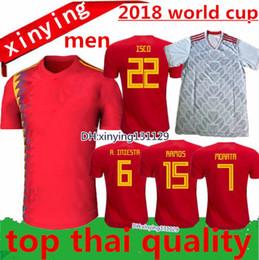 Wholesale Fabregas Jersey - 2018 2019 World Cup Spain Home Soccer Jersey 18 19 MORATA ISCO ASENSIO RAMOS SILVA PEDRO TORRES A.INIESTA FABREGAS Away Football shirts