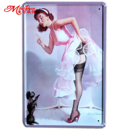 Wholesale Metal Dog Tin Sign - [ Mike86 ] Pinup Lady with dog Tin sign Art wall decoration House Cafe Bar Retro Metal painting A-267 Mix order 20*30 CM