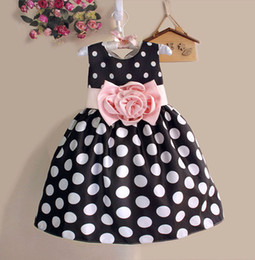 Wholesale Silk Flowers For Clothes - Hot Sale Christmas Super Flower Girls Dresses for Party and Wedding Dot Print Princess Kids Dress Fashion Children 'S Clothing