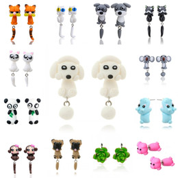 Wholesale Wholesale Polymer Clay Earrings - 32 Styles Cute 3D Dinosaur Dog Cat Pig Fox Panda Polymer Clay Earring Cartoon Stud Earring Handmade Stud Earrings D443L