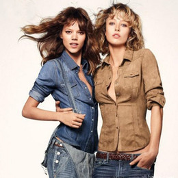 Wholesale Women S Jean Shirts - Ladies Jean Shirts Women Denim Blouses European Cardigant Full Sleeve Turn-down Collar Slim Female Shirts 2018 Spring QY0148