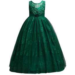 Wholesale handmade clothes for girls - Ivory Dark Green Pink Baby Girl Dress 2018 Lace Applique Tulle Handmade Dresses for Kids Clothing Baby Girl Flower Girls MC1699