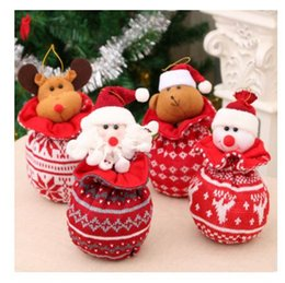 2019 bolsos em tecido Tecido De Malha De Lã Boneca Maçã Saco De Natal Decorações Crianças Presentes De Natal Tridimensional Sacos De Doces Com Cordão Bolso MMA713 bolsos em tecido barato