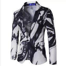 Vestiti di stile vintage online-Europa maschio e la Mens Blazer Inchiostro pittura Giacca Stati Uniti stile del vestito giacca sportiva del tasto singolo Suits vestito dall'annata
