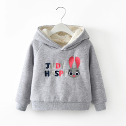 yellow rabbit ears Coupons - Cotton Padded Kids Sweatshirts for Girls New Winter Thick Girls Hoodies Clothes Cute Rabbit Ear Toddler Children Tops Clothing