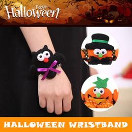 Wholesale kids slap bracelets - Halloween Cartoon Pumpkins Lumious Patting Bracelet Adults Kids Glow Sequins Slap Wristband Party Decoration Supplies NNA393