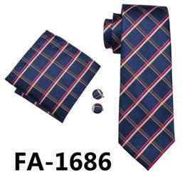 Corbatas rojas a cuadros para hombres online-Corbata para hombre Corbata de tela escocesa de color rojo a cuadros de jacquard Tie Pañuelos de corbata de gemelos para hombres de fiesta de boda de negocios