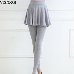 Wholesale False Knitting - Winter sexy stretch pants with mini skirts fashion pleated elastic waist women's false two piece leggins knitted fabric cotton