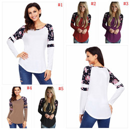 Wholesale girls floral blouse - Women Long Sleeve Floral Print Shirt Casual Girl Blouse Tops T-shirt Pullover Round Collar Tees 5 Colors OOA3999