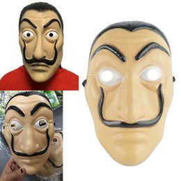 Wholesale Xmas Gifts Wholesale - New Cosplay Party Mask La Casa De Papel Face Mask Salvador Dali Costume Movie Mask Realistic Halloween XMAS Supplies Gift WX9-540