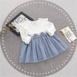 Wholesale waist tutu dress - Girl's Dresses Autumn new girls dress cotton fashion female baby waist flower princess dress V 001
