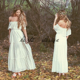 Wholesale Wedding Dresses Embroidered Shoulders - Bohemian 2018 Vintage Wedding Dress Off-the-shoulder Lace Ivory Or White Hippie Wedding Dress Embroidered Maxi Lace Dress Bridal Gown