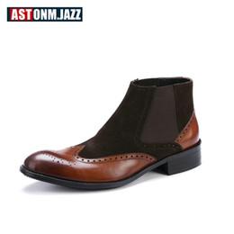 57f67f3ecc80 Herren Chelsea Boots Winter Casual Martin Stiefel Vollnarbenleder Knöchel  für Männer Schnee Warm Leder Elastische Mokassins rabatt mokassins  stiefeletten