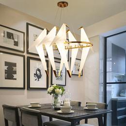 pingentes de luz de papel Desconto Nórdico Mil Guindaste De Papel Pássaro Pingente Luzes LED Lâmpadas para Sala de Jantar Quarto Sala de estar Decoração Do Café Pendurado Ouro Luminárias