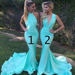 Wholesale Long Aqua Formal Evening Dress - 2018 Sexy Mermaid Aqua Bridesmaids Dresses Cheap Sweep Train Elastic Satin High Neck V neck Ruched Dresses Evening Party Formal Wear Gowns