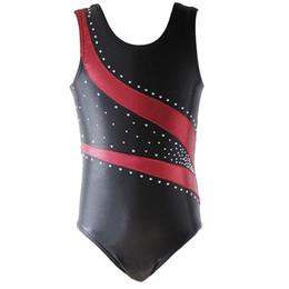 leotardo de diamante Rebajas incrustaciones de diamantes niñas Chlidren gimnasia Ballet Maillots mangas delgado Dancewear