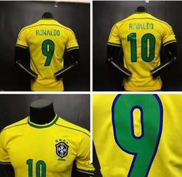 Wholesale Brazil Football Soccer - Top quality ! Retro jersey soccer jerseys Brazil 1998 World cup Brasil Ronaldo  Rivaldo   R. Carlos football Jerseys shirt free shipping
