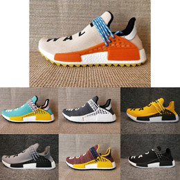 Wholesale factory falls - 2018 Human Race NMD Factory Real Boost Yellow Red Black Orange NMD Men Pharrell Williams X Human Race NMD Running Shoes Sneakers