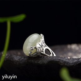 Kjjeaxcmy Boutique Jewelry S925 Sterling Silver Antique Inlaid And Tian Yu White Jade Flower Lady High-end Open Ring Ring Fine Jewelry Rings