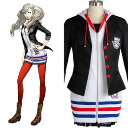 2019 karnevalsstrümpfe Persona 5 Ann Takamaki Cosplay Persona 5 Cosplay Anne Kostüm Ganzer Satz Uniform Jacke Hemd Rock Strümpfe Weste Party Halloween Karneval günstig karnevalsstrümpfe