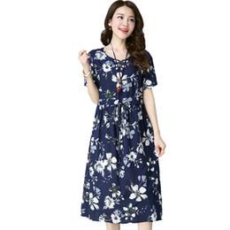 этнические платья плюс размер Скидка Ретро хлопок белье Dress 2018 старинные цветочные печати Женская одежда лето этнический стиль плюс размер Dress Vestidos Femininos ZS278