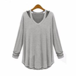 2018 Otoño Mujeres Camisetas sin tirantes de la manera cuello colgante camiseta Mujeres Casual de manga larga con cuello en pico Top camiseta para en línea desde fabricantes