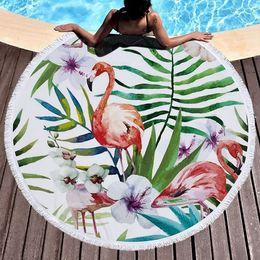 Wholesale Large Beach Mats Wholesale - Sunbathe Round Flamingo Beach Towel Large Microfiber Yoga Mat with Tassel Circular Printed Beach Towel wen5819
