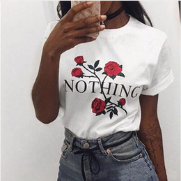 Wholesale blouse roses - NOTHING Letter Print T-shirts Girls Women Rose Flower Casual Summer Tops Blouses Short Sleeve O-neck Tee Shirt 2 Colors LJJO4306