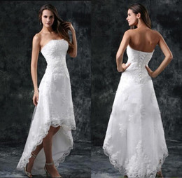Wholesale little sexy models - 2018 Wedding Dresses Sexy Strapless Appliques Lace High Low Little White Ivory Lace Up Back Summer Beach Short Bridal Gowns