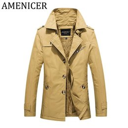 Wholesale Trench Coat Big Man - Men Jacket Thicker Lapel Cotton Trench Clothes Casual Coat For Mans Jackets Big Size Winter Loose Casual Dress Up Button Style