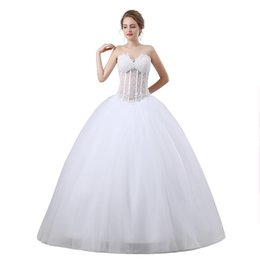 Wholesale Tull Ball - Beading Ball Gown Wedding Dresses 2018 New Sleeveless Sweetheart Floor Length Tull Illusion Plus Size Bridal Gowns Plus Size 17-6650