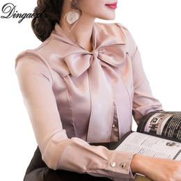 Parte superior elegante do chiffon da mulher on-line-Dingaozlz Nova 2018 arco costura chiffon blusa elegante feminina de manga longa camisa de chiffon moda csaual clothing mulheres topos