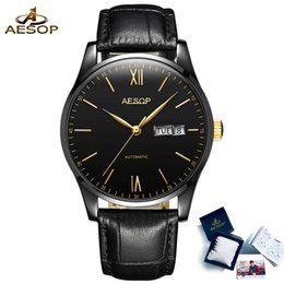 тонкие водонепроницаемые мужские часы Скидка AESOP Original  Simple Ultra Thin Mechanical Watch Men Automatic Self-wind Waterproof Business Men Watches Relogio Masculin