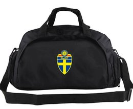 Wholesale Flag Packs - Sweden duffel bag Strong player tote Football man team logo backpack Soccer exercise luggage Sport shoulder duffle Flag sling pack