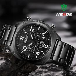 1d64bb1f5aac WEIDE Original Montre Homme Noir Tous En Acier Homme Montres Chronographe  Montre À Quartz Relogio Horloge Reloj Hombre Montre Homme weide montre noire  pas ...